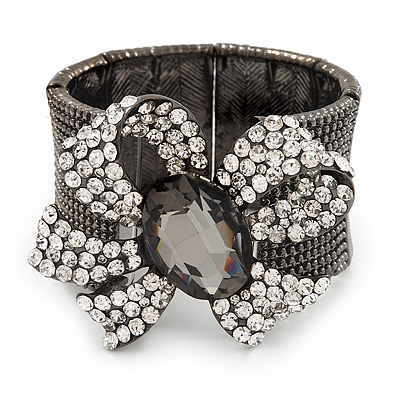 Diamante 'Bow' Flex Bracelet In Gun Metal Finish - up to 19cm Length