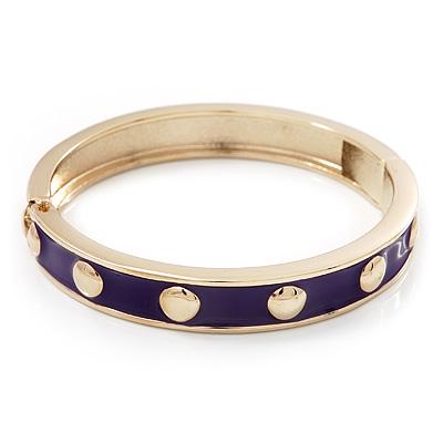 Purple Enamel Gold Studded Hinged Bangle Bracelet - up to 18cm Length