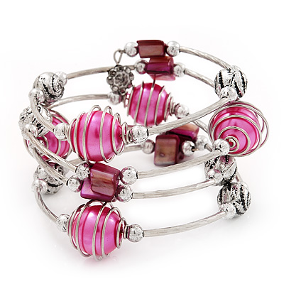 Silver-Tone Beaded Multistrand Flex Bracelet (Fuchsia Pink) - main view
