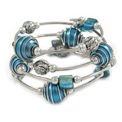 Silver-Tone Beaded Multistrand Flex Bracelet (Dark Teal Blue) - main view