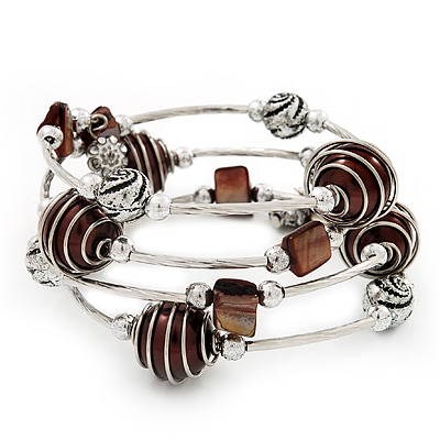 Silver-Tone Beaded Multistrand Flex Bracelet (Chocolate Brown)