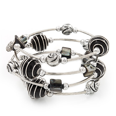 Silver-Tone Beaded Multistrand Flex Bracelet (Black)