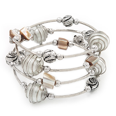 Silver-Tone Beaded Multistrand Flex Bracelet (White) - main view