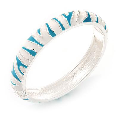 Aqua Blue/White Zebra Pattern Hinged Bangle Bracelet In Rhodium Plated Metal - 18cm Length