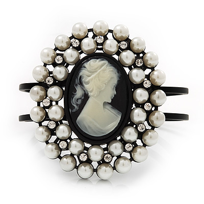 Large Simulated Pearl 'Classic Cameo' Hinged Bangle Bracelet In Black Metal - up to 18cm wrist