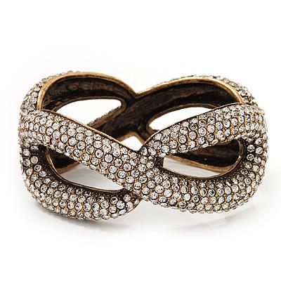 Clear Swarovski Crystal 'Figure Of Eight' Hinged Bangle Bracelet - 18cm Length