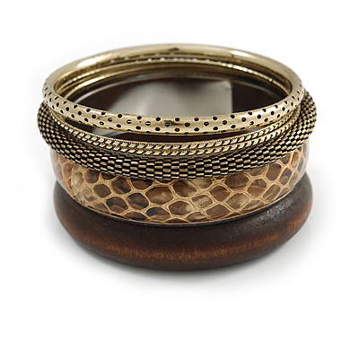 Antique Gold Metal & Snake Leather Style & Wood Bangle Set of 6 - 18cm Length