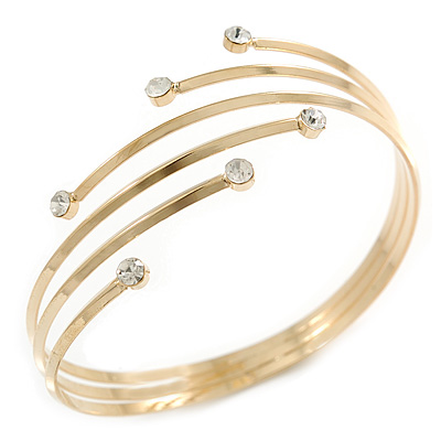Gold Plated Crystal Smooth Armlet Bangle - up to 29cm upper arm