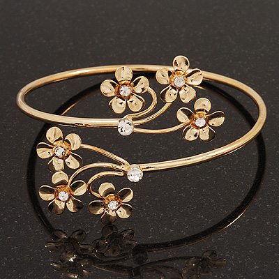 Gold Plated Diamante Floral Upper Arm Bracelet - up to 28cm upper arm - main view