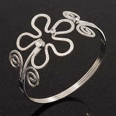 Rhodium Plated Textured 'Flower & Swirls' Diamante Upper Arm Bracelet Armlet - Adjustable