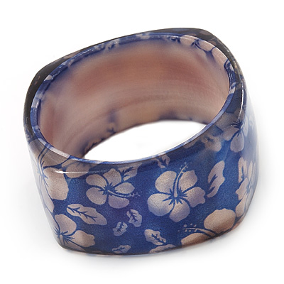 Blue Floral Print Chunky Square  Resin Bangle Bracelet - up to 20cm wrist