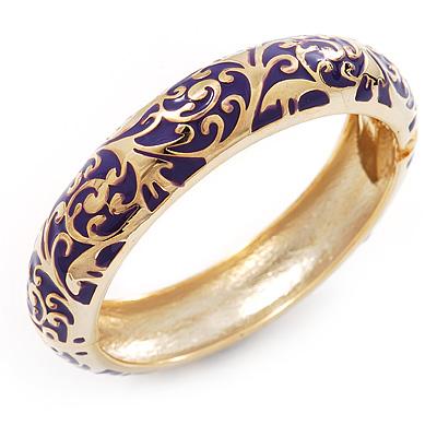 Gold Plated Purple Enamel Swirl Patten Hinged Bangle Bracelet -17cm Length