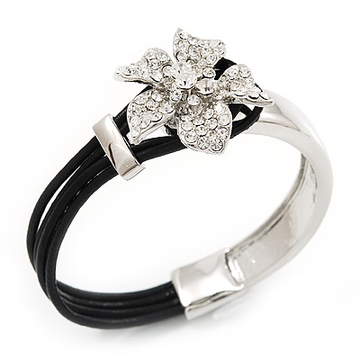 Silver Tone Diamante Flower Leather Cord Bracelet - 17cm Length