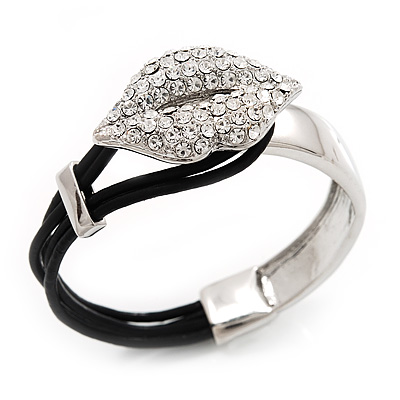 Silver Tone Diamante 'Lips' Leather Cord Bracelet - 17cm Length