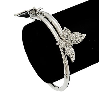 Silver Plated Clear Diamante 'Butterfly' Flex Bracelet - Adjustable