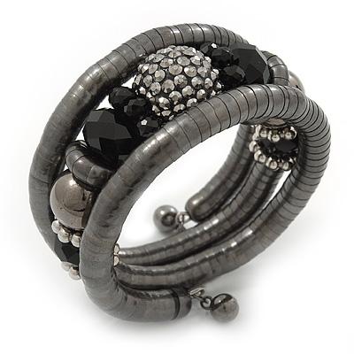 Black Hematite/Glass Beaded Coil Bangle Bracelet - Adjustable - main view