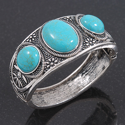 Burn Silver Effect Turquoise Stone Hammered Hinged Bangle - up to 19cm wrist