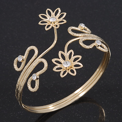 Gold Plated Textured 'Flowers & Twirls' Diamante Upper Arm Bracelet Armlet - Adjustable