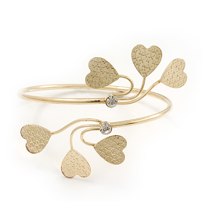 Gold Plated Textured Diamante 'Heart' Armlet Bangle - Adjustable