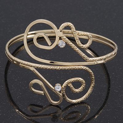 Gold Plated Textured 'Twirls' Diamante Armlet Bangle - Adjustable