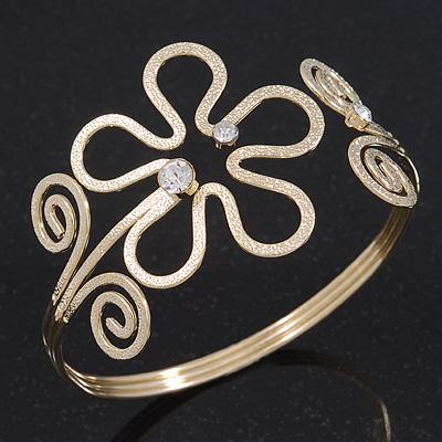 Gold Plated Textured 'Flower & Swirls' Diamante Upper Arm Bracelet Armlet - Adjustable - main view