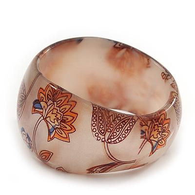 Chunky Beige/Brown 'Floral Pattern' Resin Bangle Bracelet - 20cm Length
