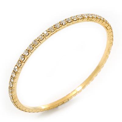 Slim Crystal Slip-On Bangle Bracelet In Gold Plating - up to 18cm Length