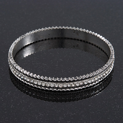 Burn Silver Diamante Bangle Bracelet - up to 18cm Length