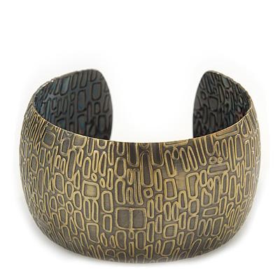 Brushed Gun Metal 'Afrikana' Silhouette Cuff Bracelet - up to 18cm Length