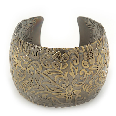 Brushed Gun Metal 'Florentina' Silhouette Cuff Bracelet - up to 18cm Length - main view