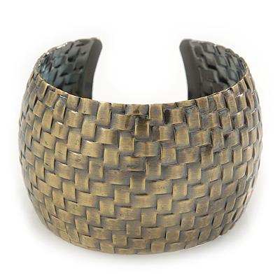 Brushed Gun Metal 'Woven' Silhouette Cuff Bracelet - 18cm Length