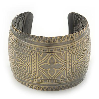 Brushed Gun Metal 'Pilgrim' Silhouette Cuff Bracelet - up to 20cm Length - main view
