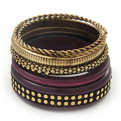 Vintage Burn Gold/ Purple Studded Wood Set Of 7 Bangles - 18cm Length - main view