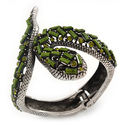 Vintage Burn Silver Olive Glass/Crystal Bead 'Snake' Hinged Bangle - 18cm Length - main view
