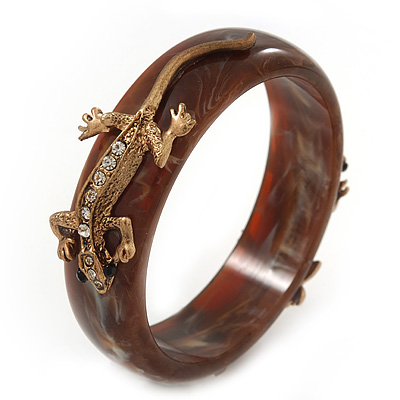 Gold Tone Chemelion Resin Bangle - 19cm Length