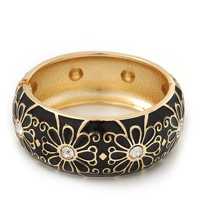 Black Enamel 'Daisy' Hinged Bangle Bracelet In Gold Plating - 19cm Length