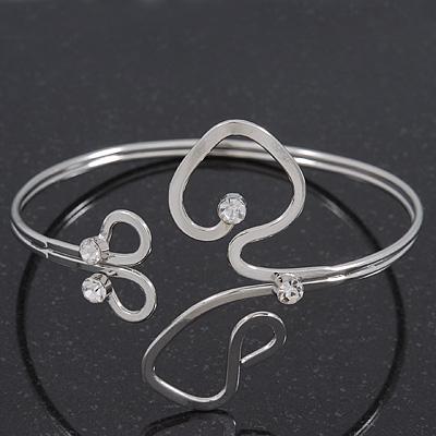 Rhodium Plated 'Swirls' Armlet Upper Arm Cuff Bracelet - Adjustable