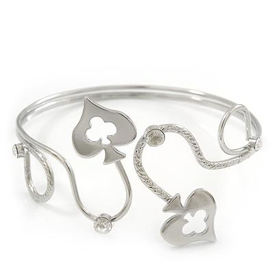 Rdodium Plated Textured Diamante 'Spade' Armlet Upper Arm Cuff Bracelet - Adjustable