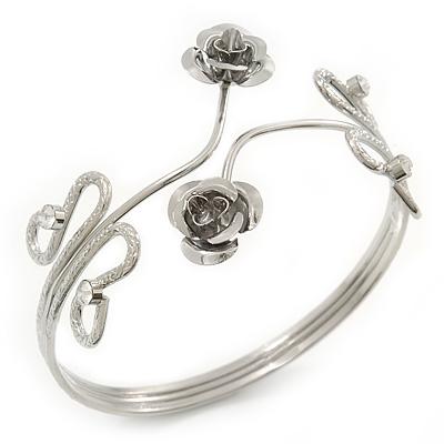 Rhodium Plated 'Rose' Armlet Upper Arm Bracelet - Adjustable