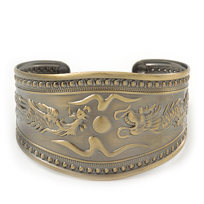 Brushed Gun Metal 'Phoenix and Dragon' Silhouette Cuff Bracelet - up to 20cm - main view