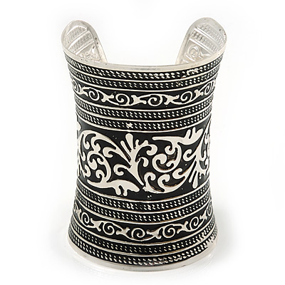 Wide Rhodium Plated Roman Etched Cuff - 95mm Height - main view
