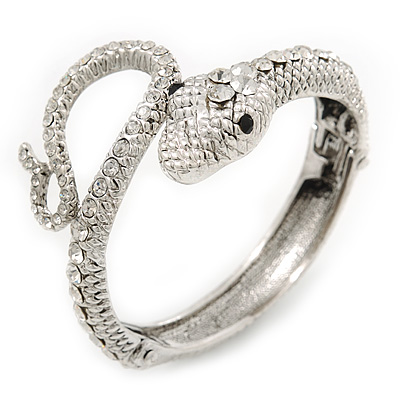 Sleek Swarovski Crystal Snake Hinged Bangle Bracelet In Rhodium Plating