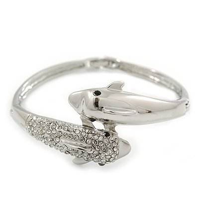 Rhodium Plated Crystal Double Dolphin Bangle Bracelet - up to 17cm Length