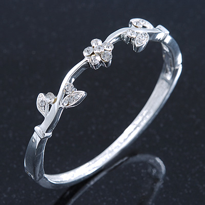 Delicate Rhodium Plated Crystal Floral Bangle Bracelet - 19cm Length
