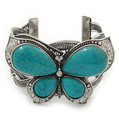 Large Turquoise Stone 'Butterfly' Cuff Bracelet In Silver Plating