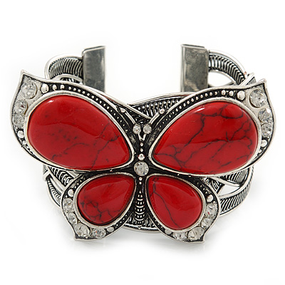 Large Red Ceramic 'Butterfly' Cuff Bracelet In Silver Plating - main view