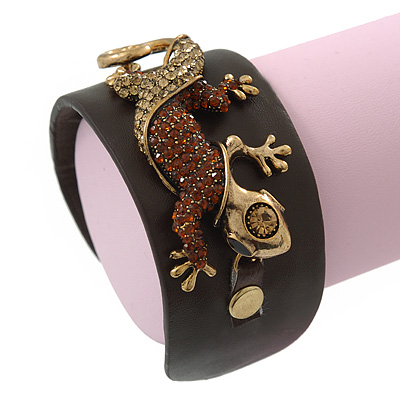 Crystal 'Gecko Lizard' Dark Brown Leather Flex Cuff Bracelet - Adjustable
