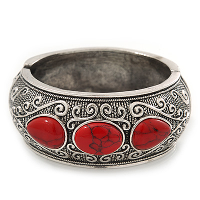 Burn Silver Effect Red Ceramic Stone Hammered Hinged Bangle - up to 19cm wrist