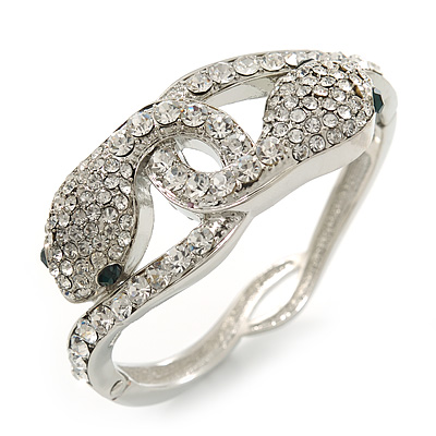 Stunning Swarovski Crystal Intertwined Snake Hinged Bangle Bracelet In Rhodium Plating - 17cm Length