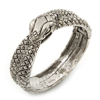 Burn Silver Vintage Inspired Coiled Snake Hinged Bangle Bracelet - 17cm Length